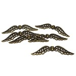 Bronze Pewter Angel Wing Beads Large 32mm 6 per bag