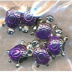 Enameled Turtle Large Hole Beads, Purple (6)