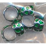 Green Enameled Ring Beads, European-style Big Hole Spacers Bulk (6)