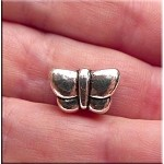 Pewter Butterfly Large Hole Bead, Butterfly Big Hole Charm Bead