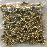 Gold Star Bead Caps, Antiqued Gold Pewter 7.5mm Beadcaps, Bulk (50)