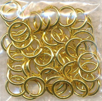 8mm Gold Plated Jump Rings, 18-gauge, Bulk 50pc