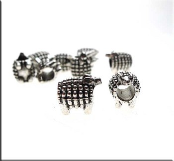 Sheep Big Hole Beads, Antique Silver (10)