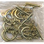 Fancy Loop Top Toggle Clasps, Antique Gold (10)