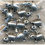Chicken Big Hole Beads, Antique Silver (10)