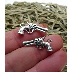 Gun Charm, Antiqued Silver 3D 6-Shooter Pistol Necklace, Revolver Jewelry (1)