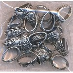 Silver Pewter Fancy Pinch Bails 20 per bag