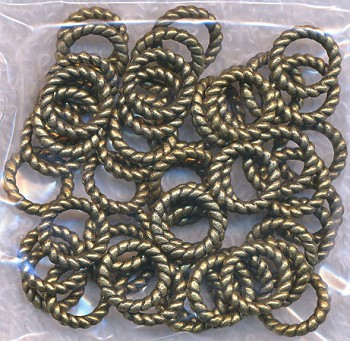 9.5mm Closed Twist Jump Rings, Antiqued Brass Finish (Bulk 50)