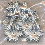 Bright Silver Flower Bead Cap, 19x21mm