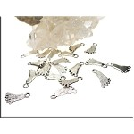 Foot Charms, Antiqued Silver Footprint Charms (20)