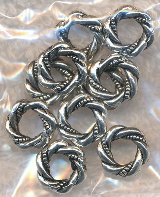Silver Pewter 12mm Fancy Ring Bead