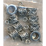 Silver Pewter Scroll Heart Slider Large Hole Bails 10 per bag