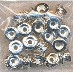 Fancy Pinched Spacer Beads, Bright Silver (20)
