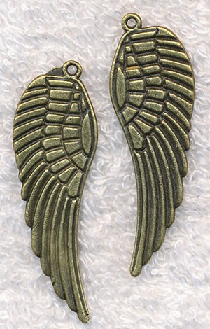Large Angel Wing Necklace, Antique Brass