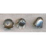 6 Dome Jewelry Caps with Stripe Accent Antique Silver Tone