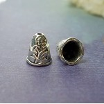 Flower Jewelry Cones with 6mm Opening, Antique Silver (10)
