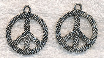 Zebra Print Peace Sign Pendant, 30mm
