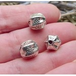 Silver Pewter Fancy Crimped Melon Beads with Sun Motif 11x10mm 10 per bag