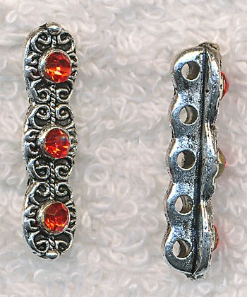 Jewelry Separator Bar with Red Crystals, 5 Hole Fancy