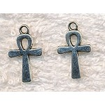 SOLDOUT - Silver Pewter Ankh Charm, 22x13mm