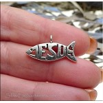Christian Fish Charms, Antique Silver Jesus Charms (10)