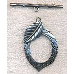 Large Leaf Toggle Clasps, Antique Silver (6)