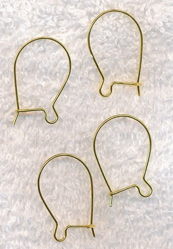 Gold Plated Kidney Earwires, 4pc