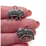 Indian Elephant Charm, Double Sided Silver Elephant Jewelry