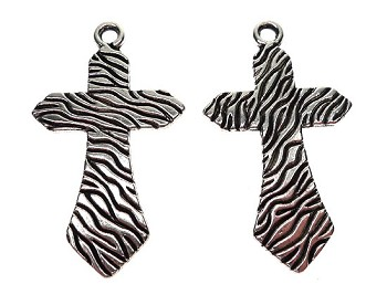 Zebra Print Cross Pendant, 46x27mm
