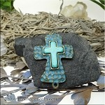 Antique Bronze Large Hammered Cross Jewelry Connector with Turquoise Center and Verdigris Patina Finish