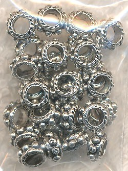Large Hole Dotted Ring Spacers with 2.5mm Hole, Antique Silver (30)