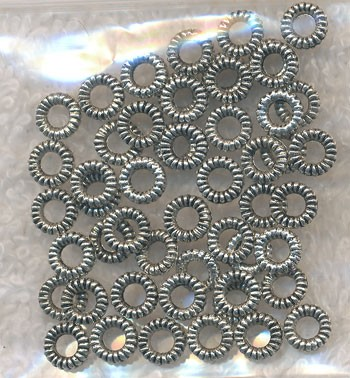 6mm Silver Pewter Closed Twist Jumprings, Bulk 50pc