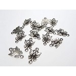 Butterfly Jewelry Findings, Antique Silver Butterfly Connectors (15)