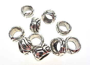 Big Hole Ring Spacer Beads, Antique Silver Decorative Large Hole Ring Spacers (10)