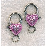 Heart Clasps, Heart Lobster Clasp with Pink Patina (1)