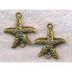 Antique Gold Starfish Connectors, 28x25mm Pewter Sea Star Pendants (6)
