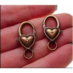 Copper Heart Jewelry Clasp, Heart Lobster Trigger Clasp
