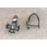 Cross Bails with Crystals, Silver Plated Pinch Bails (10)