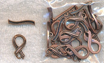 Copper Awareness Ribbon Toggle Clasps (10)