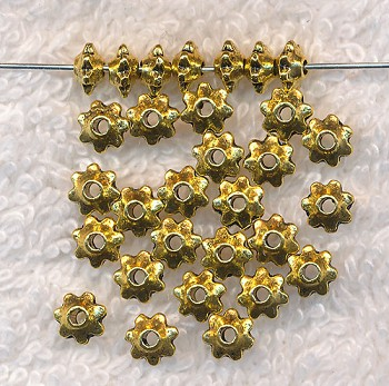 5mm Dotted Rim Rondelle Saucer Spacer Beads, Antique Gold (30)