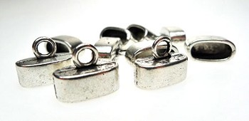 Silver Oval Jewelry End Caps with 12x5mm Opening (10)