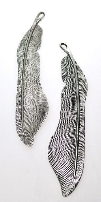 Tibetan Silver Large Feather Pendant - Both Sides Shown