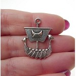 Silver Dragon Viking Ship Necklace, Viking Jewelry, Long Boat