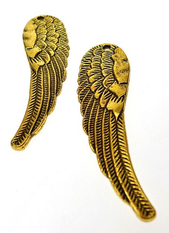 Large Double-sided Angel Wing Pendant, Antique Gold Finish, 60x18mm