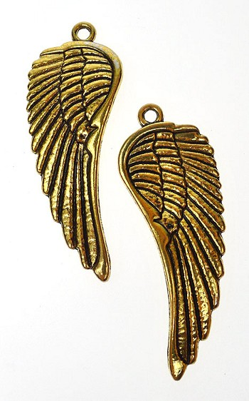 Curvy Large Angel Wing Necklace - Everyday Gold Angel Wing Jewelry