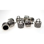 Fancy Jewelry End Caps with 7.5mm Opening, Antique Silver (10)