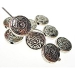 Southwestern Sun Beads, Antique Silver Celtic Trikellion Beads (10)