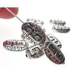 Greek Key Beads, 14x9mm, Antique Silver (10)