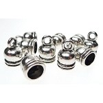 Silver Pewter Bell End Caps with 5.5mm Opening 10 per bag