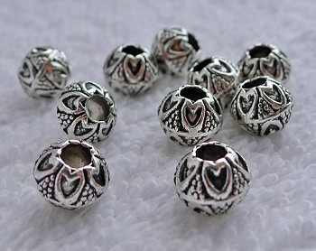 Fancy Tibetan Silver 8mm Ball Beads (10)